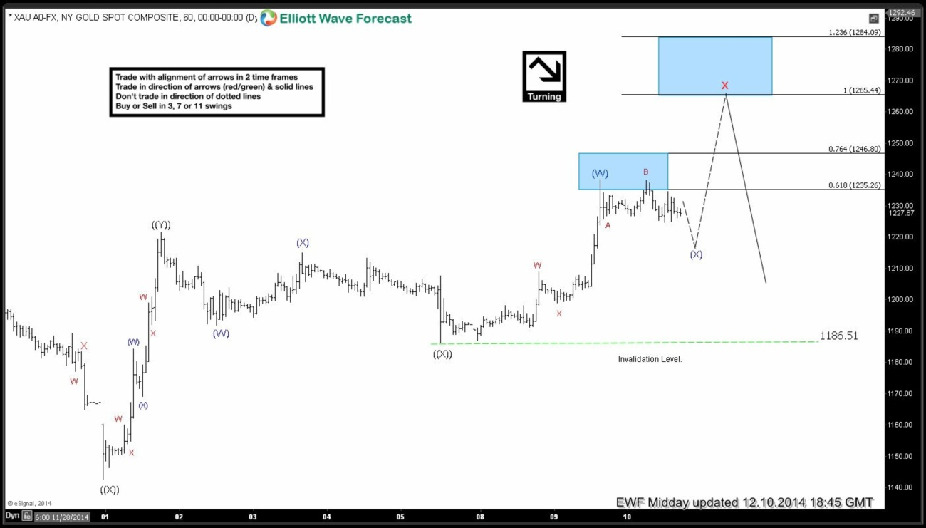 Gold Short-term Elliott Wave Analysis 12.10.2014