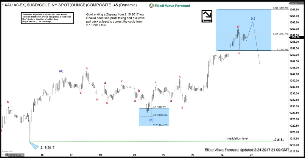 Gold Elliott wave Zigzag pattern